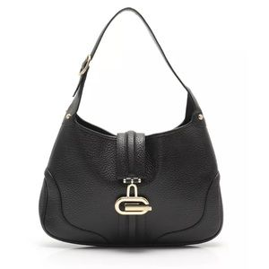 Authentic GUCCI Black Leather Hobo bag with gold